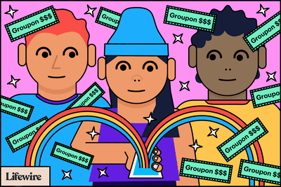 Illustration of three people looking at a smartphone with rainbows coming out of it and many
