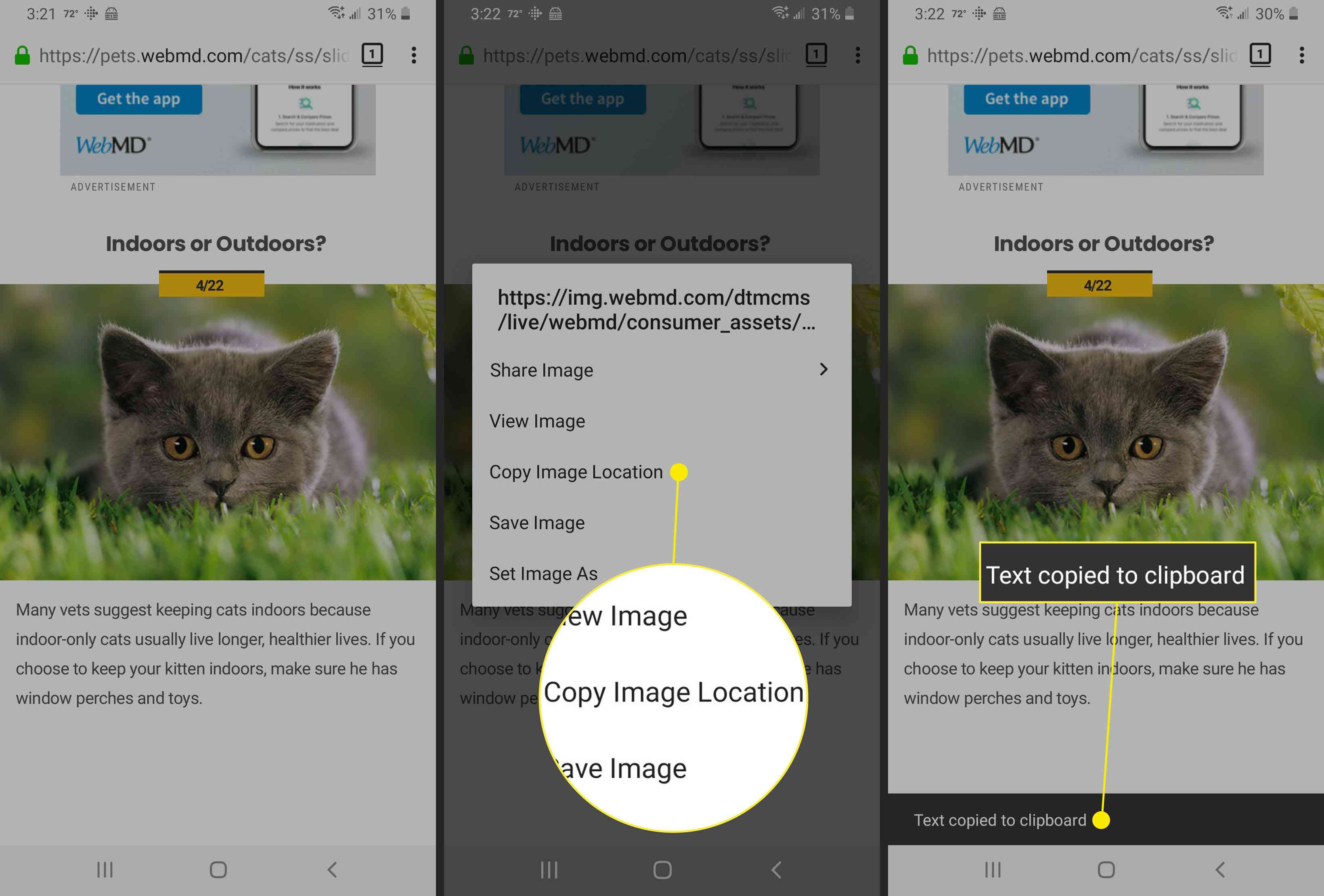 Saving an image location to the clipboard.