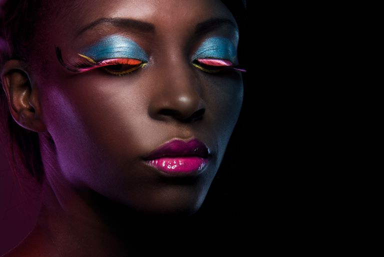 beauty African model with colorful makeup