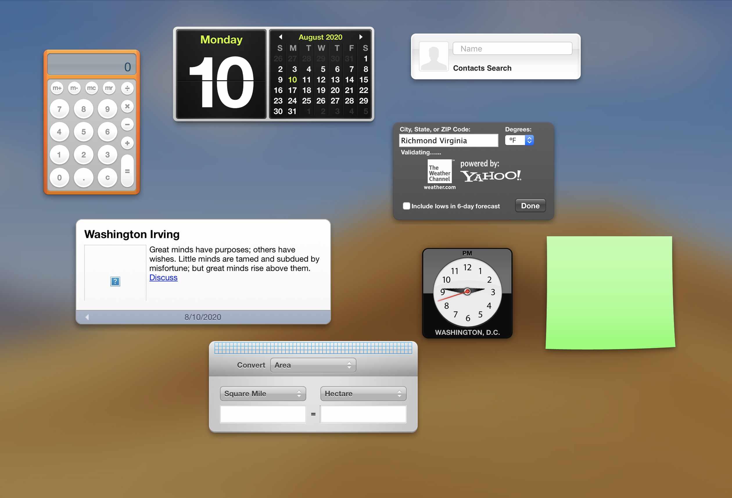 Widgets on a Mac
