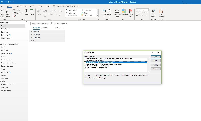 Screenshot of COM Add-ins