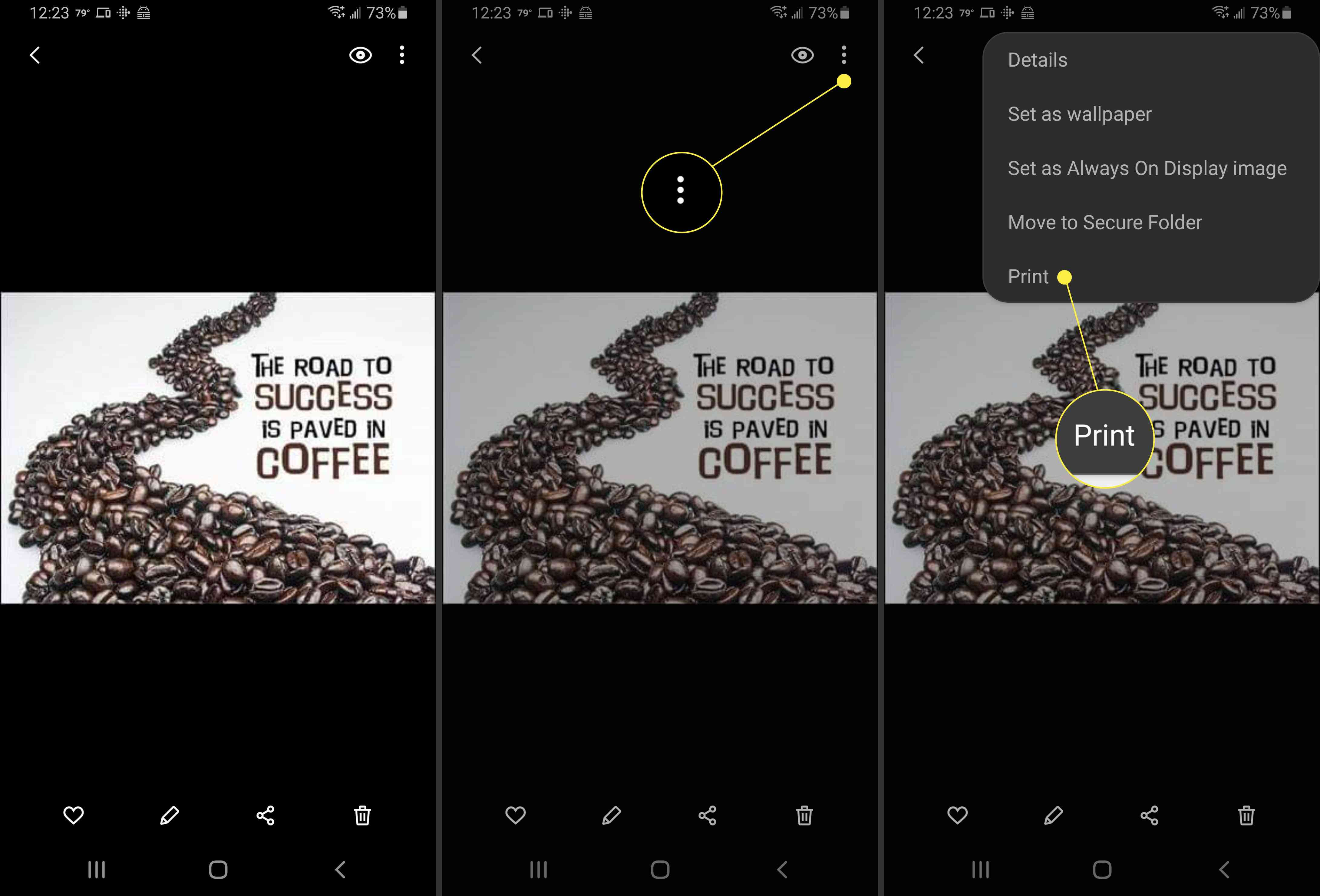 Selecting Print in Android.