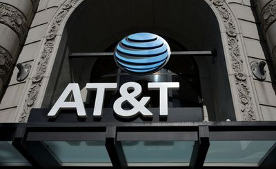 AT&T logo/sign above entrance to store