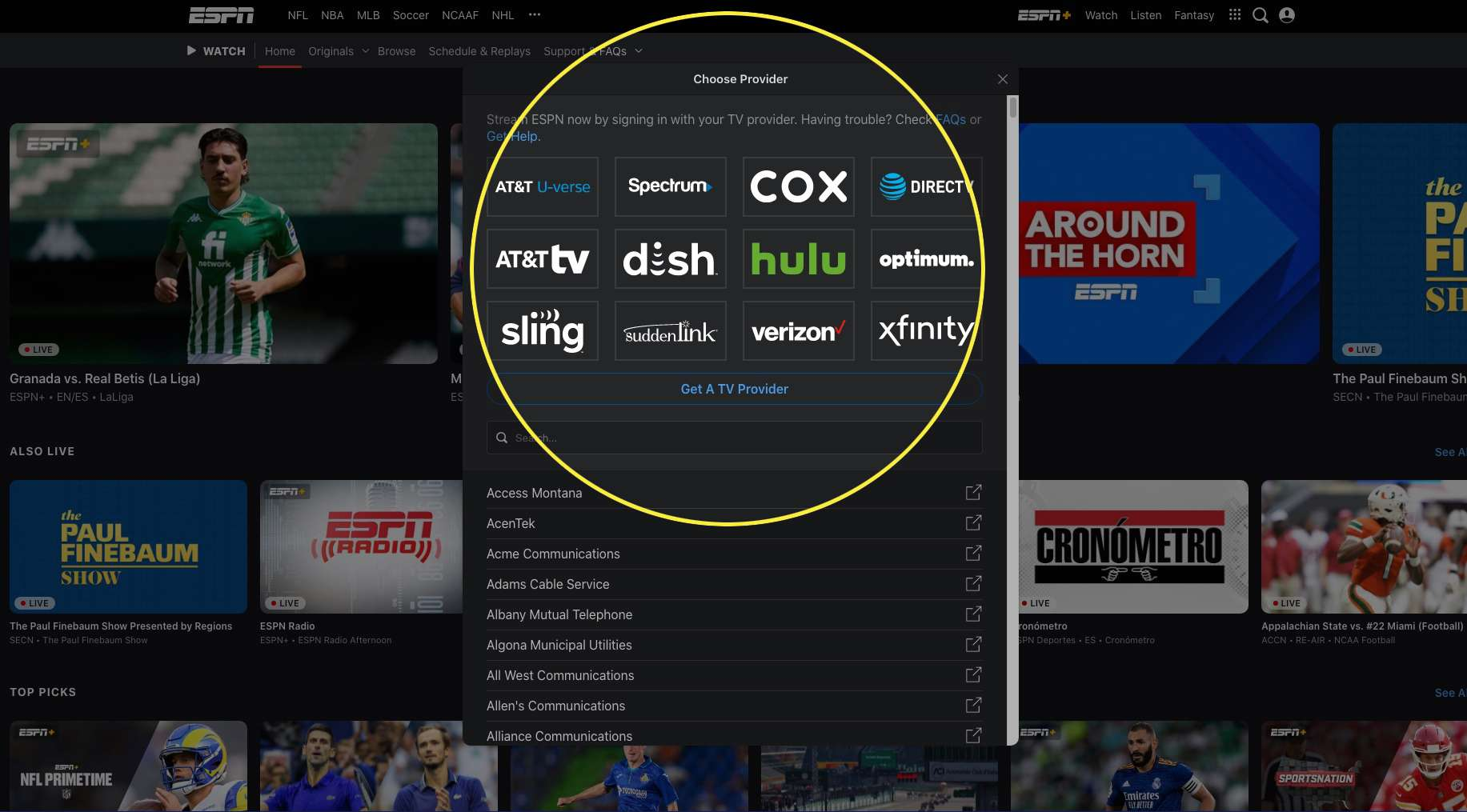 Watch ESPN website with TV providers highlighted