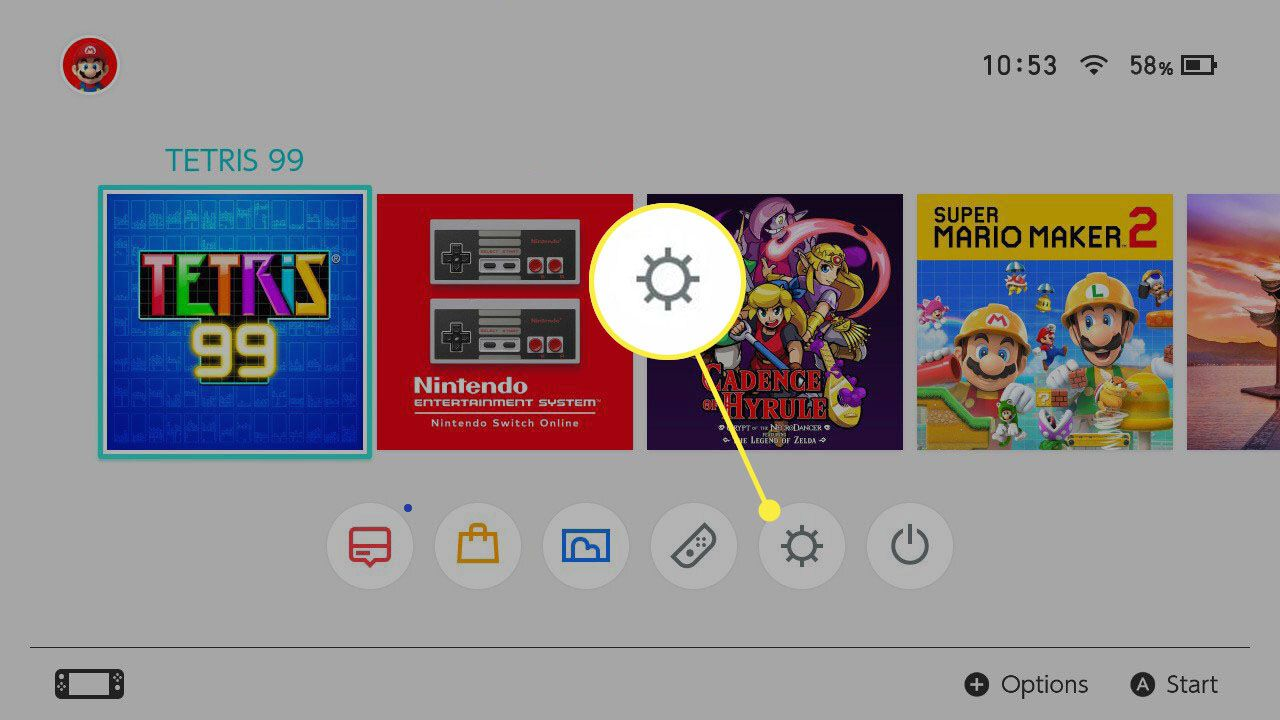 Nintendo Switch Home Screen highlighting Settings cog