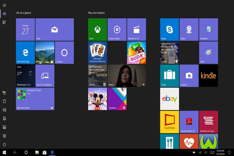 A desktop screenshot of the Windows 10 Tablet Mode feature while enabled and in use.