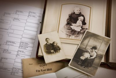 Vintage photos, family tree, and various documents
