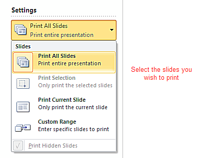 Printing Settings in PowerPoint 2010