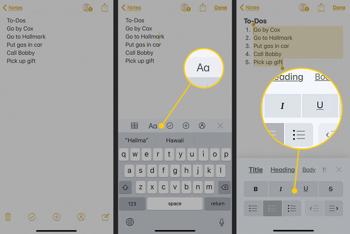 Text formatting options in iOS' Notes app