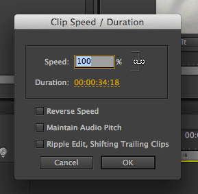 Speed of clip