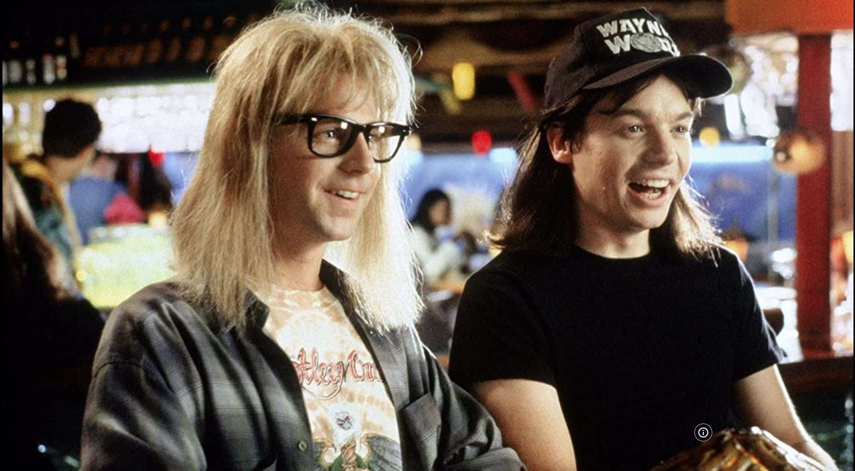 Wayne's World scene with Garth (Dana Carvey) and Wayne (Mike Meyers)