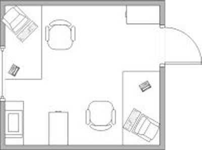 Left and right corner layout of desks