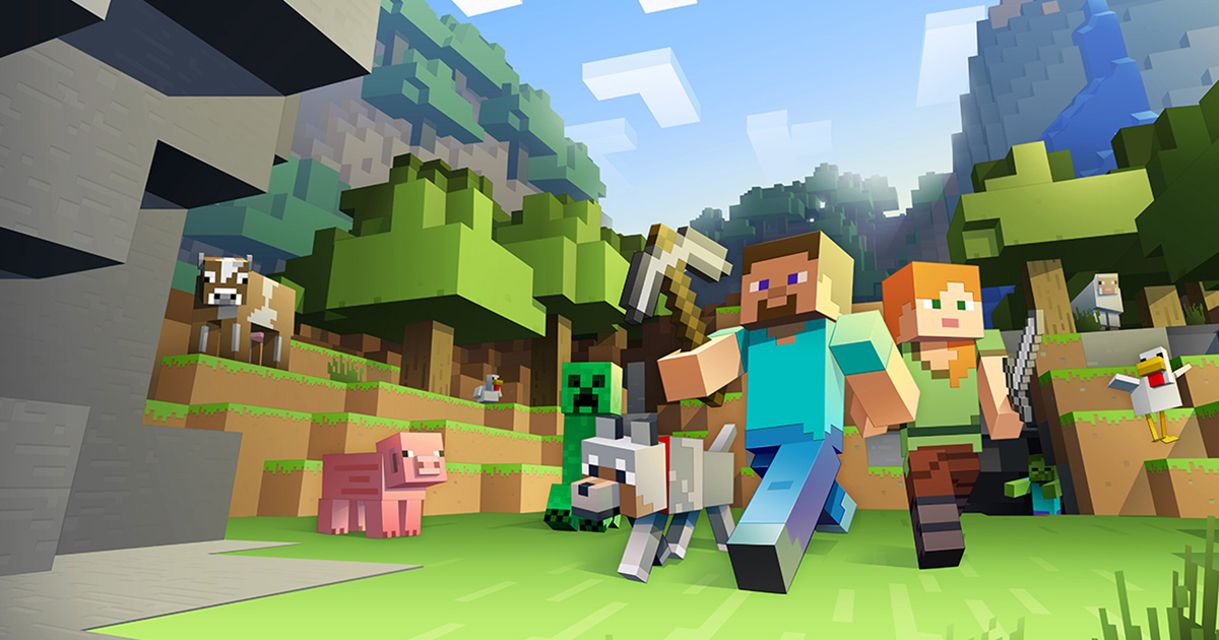 Characters running in Minecraft from cinematic shot