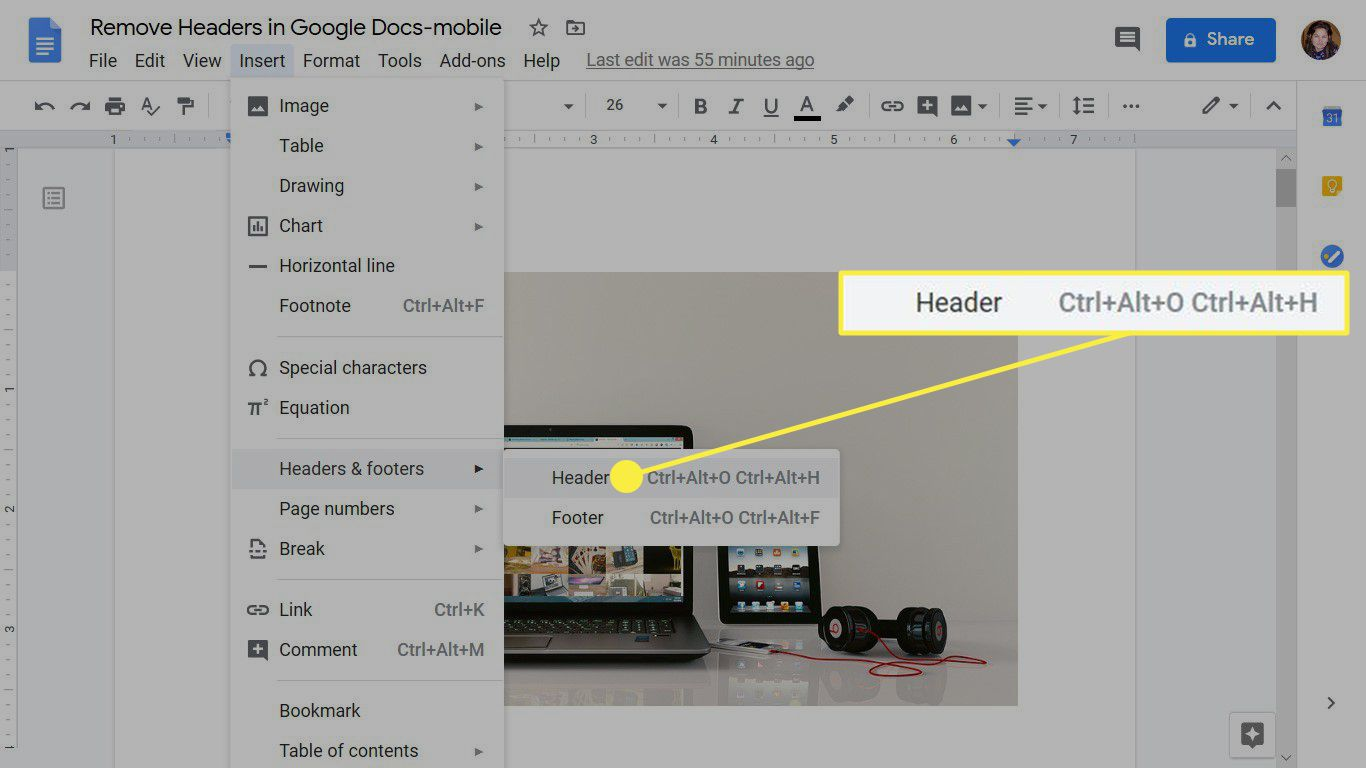 The Google Docs Insert menu showing how to add a header