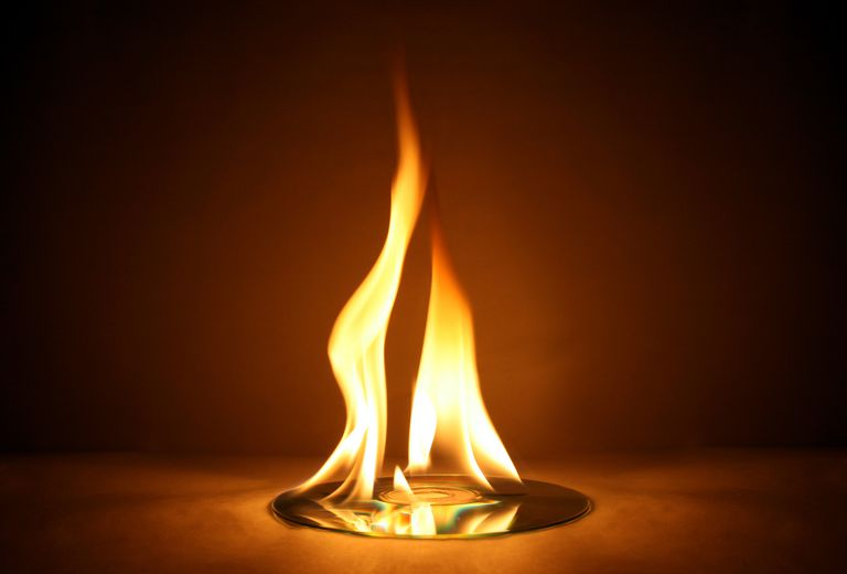 CD Burning with Large Yellow Flame