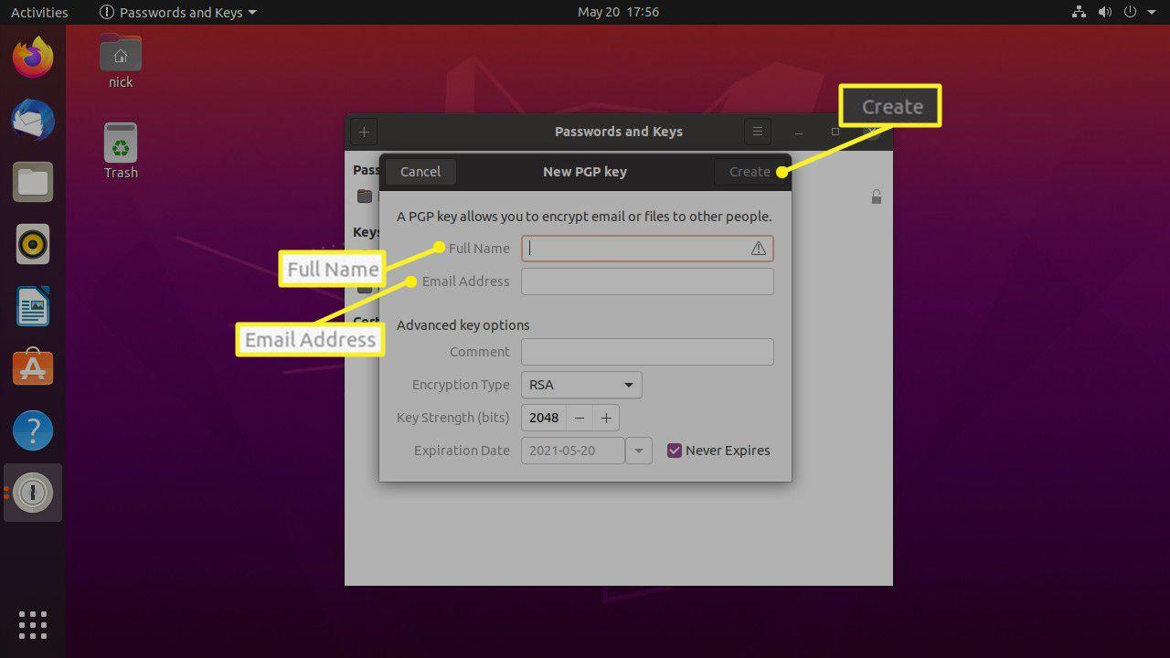 Ubuntu Seahorse create GPG key screen