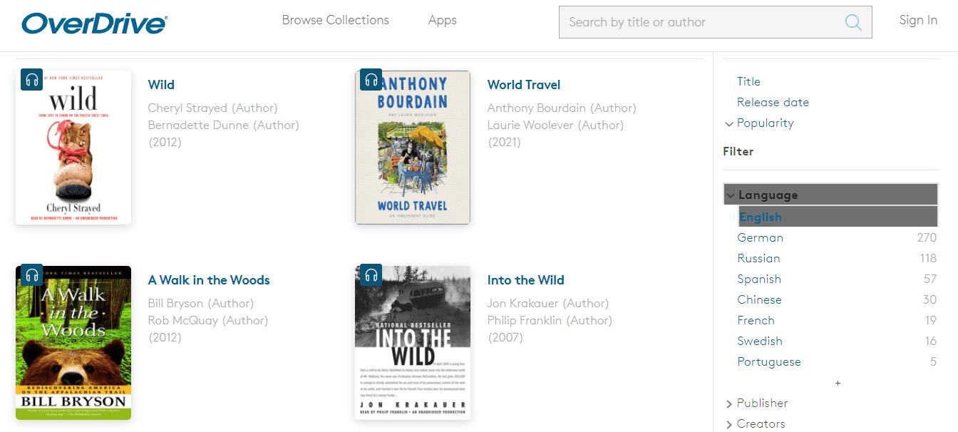 OverDrive travel audiobooks