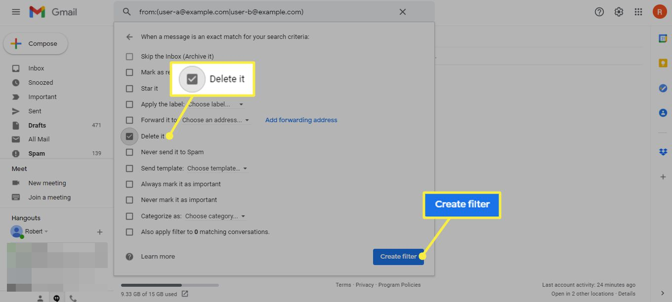Delete It and Create filter button in Gmail search options dialog