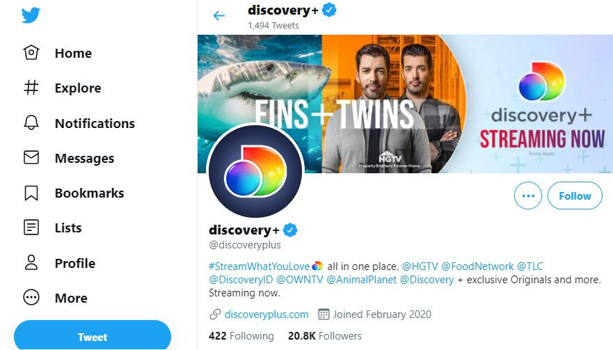 Discovery Plus Twitter page