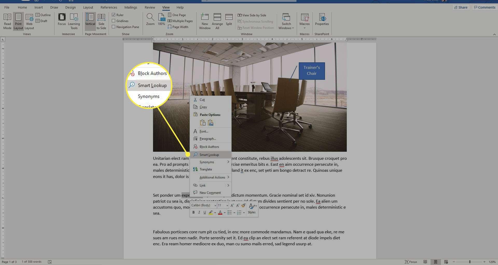 Smart Lookup in right-click menu