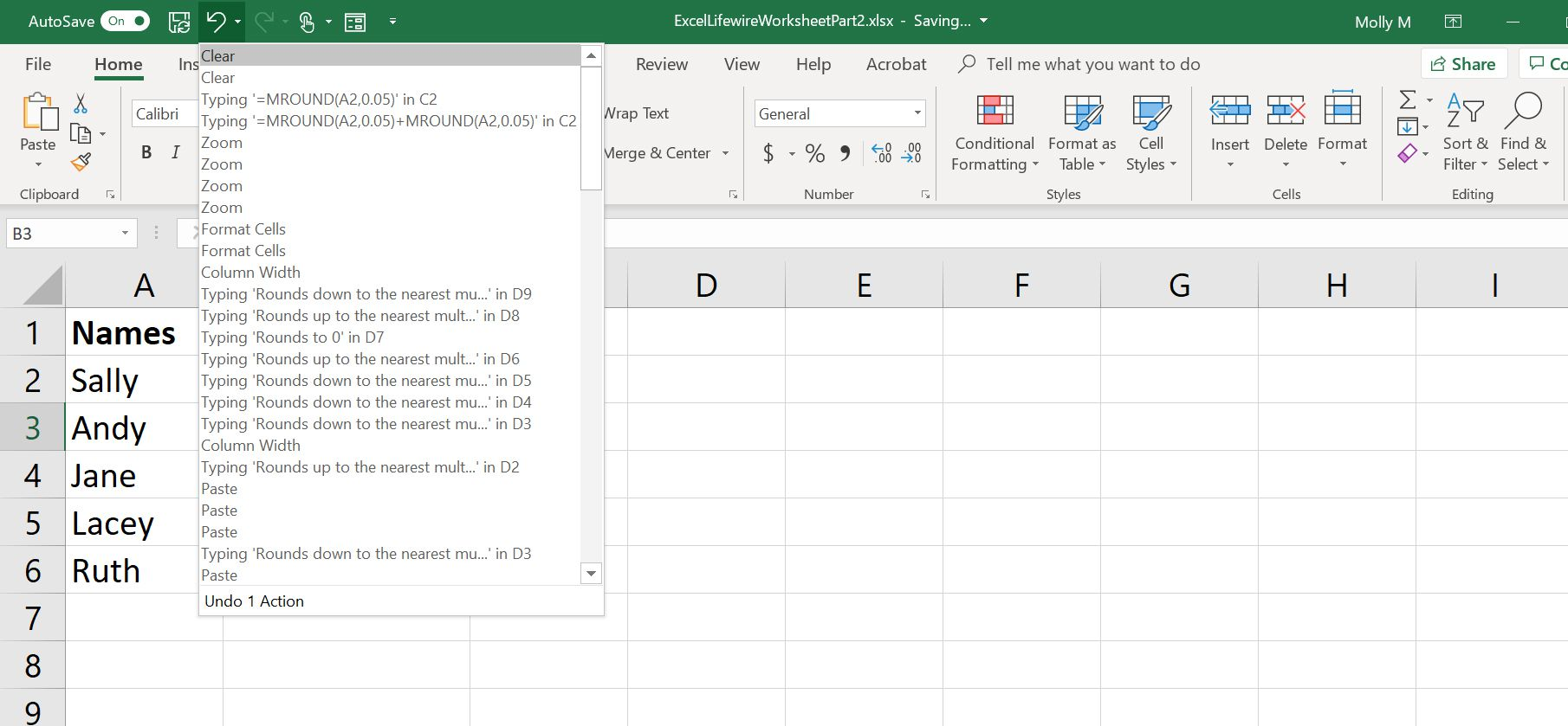A screenshot of Excel's Undo button with a drop-down menu showing all actions that can be undone.