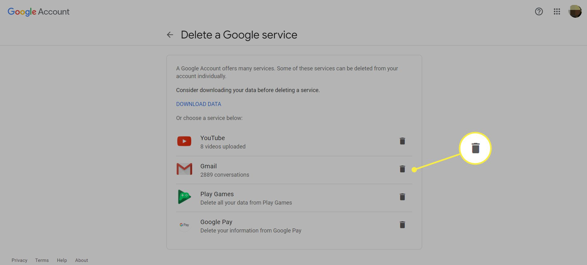 The Delete a Google service page with the trash can icon highlighted next to Gmail