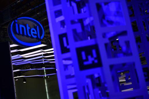 Intel logo at an event