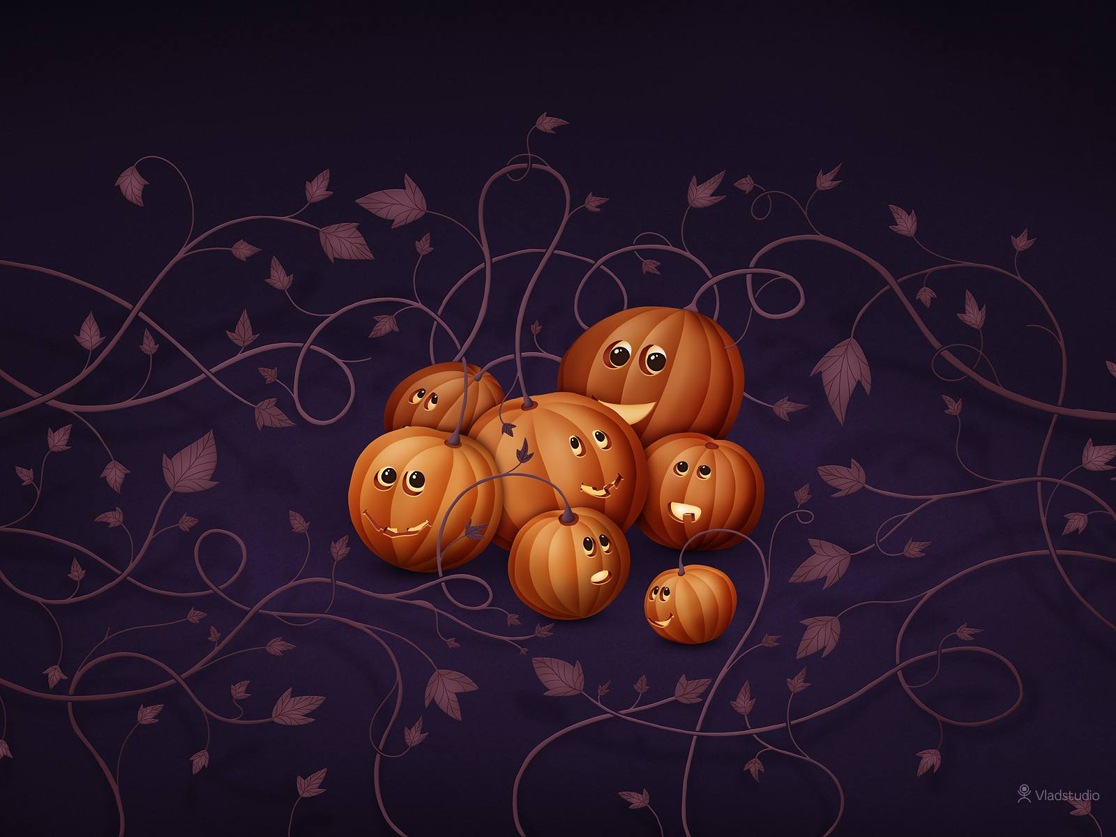 A group of pumpkins growing on vines.