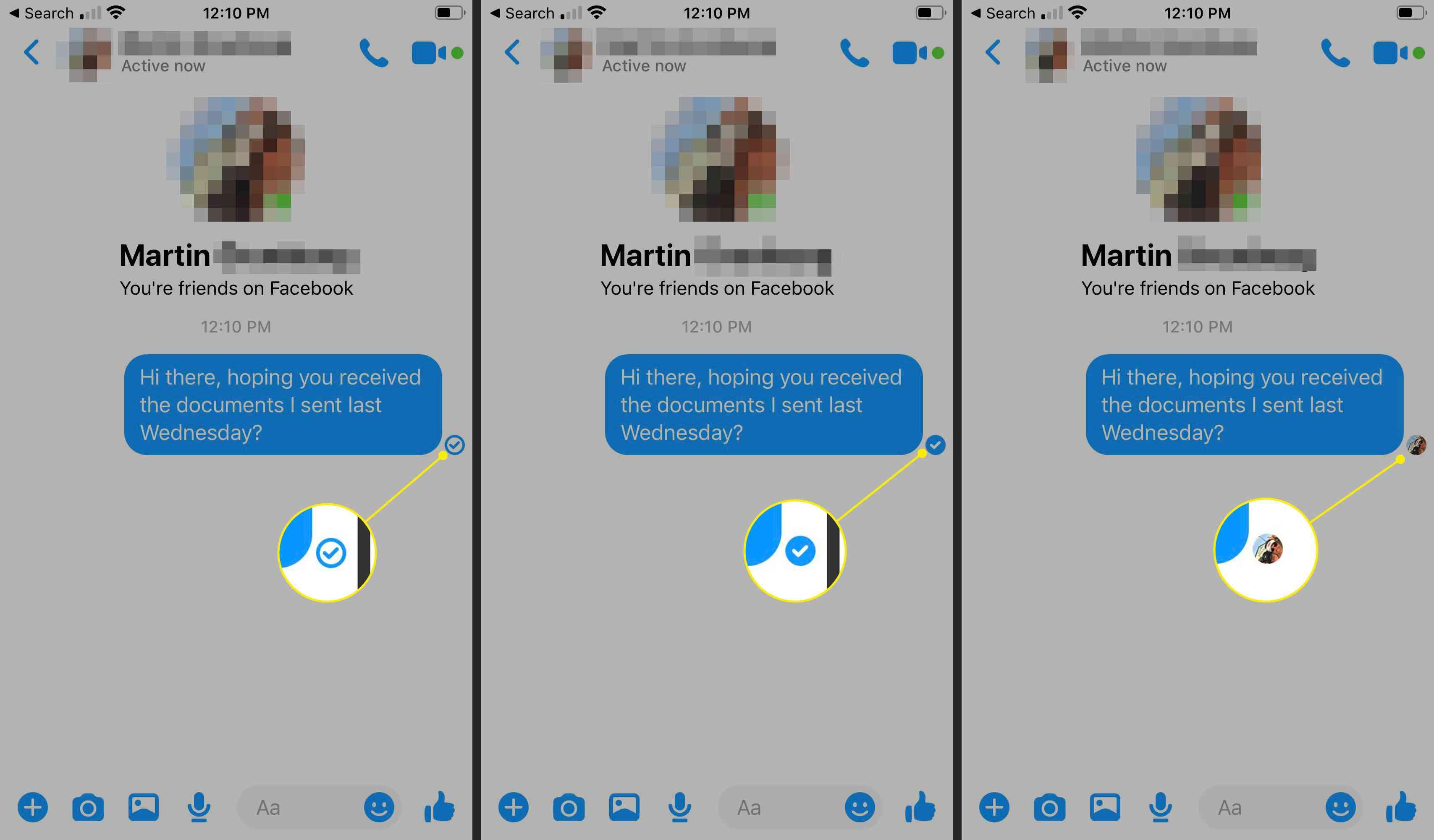 Read indicators in Facebook Messenger