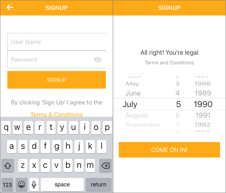 Screenshots showing how to sign up for airG from the iPhone app