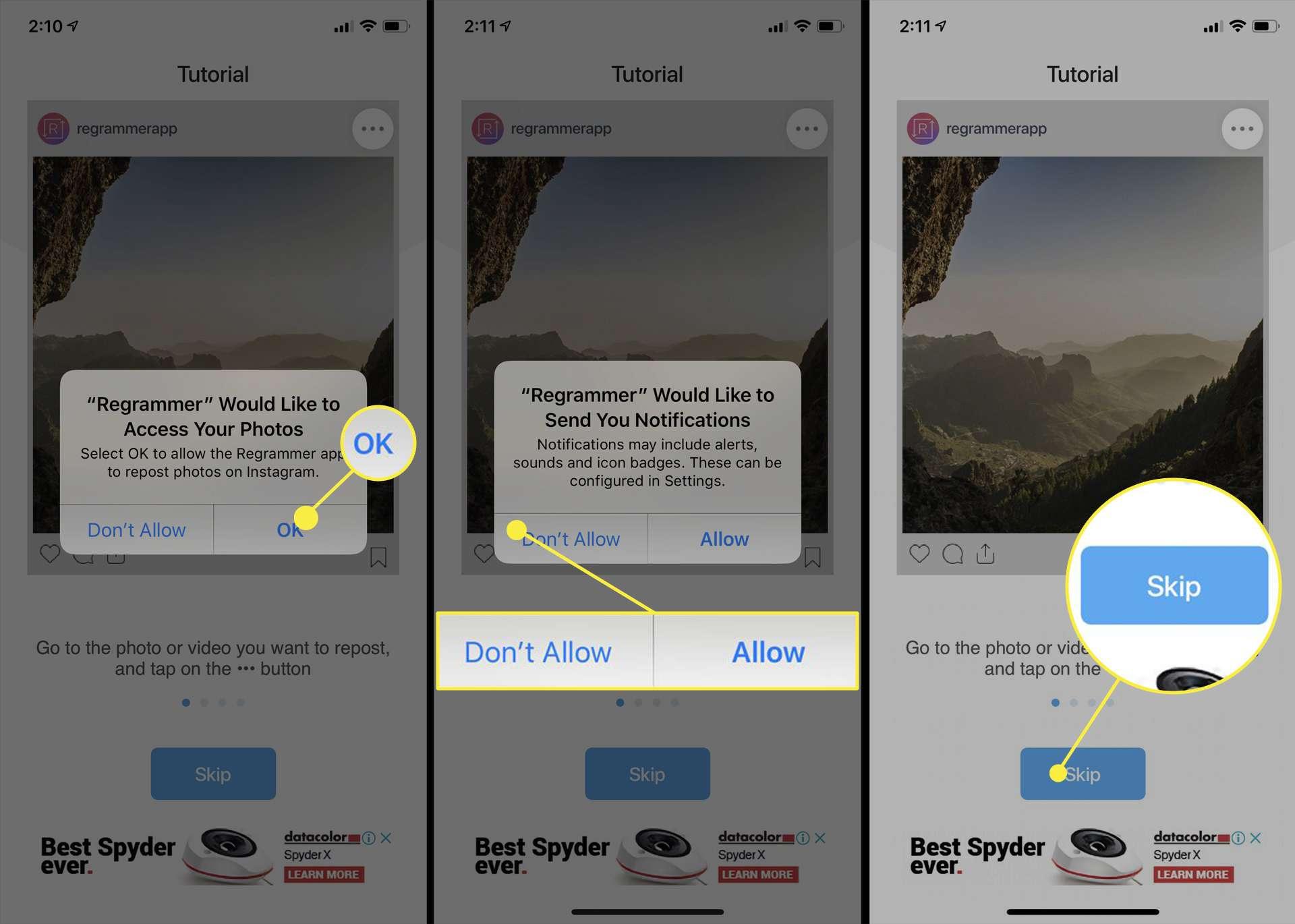 تطبيق Regrammer iOS.