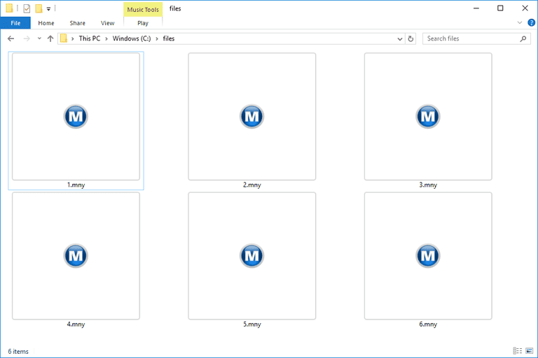 Screenshot of several MNY files in Windows 10 that open with Microsoft Money