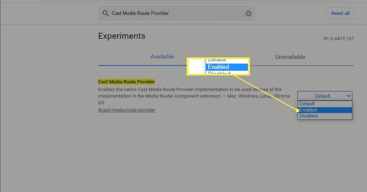 Cast Media Route Provider Chrome flag enabled