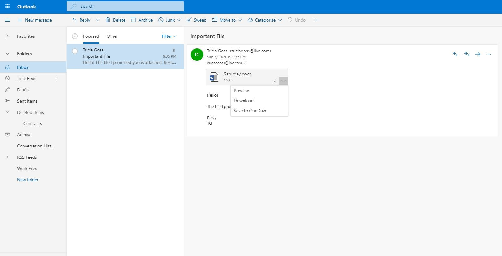 Message attachment options in Outlook