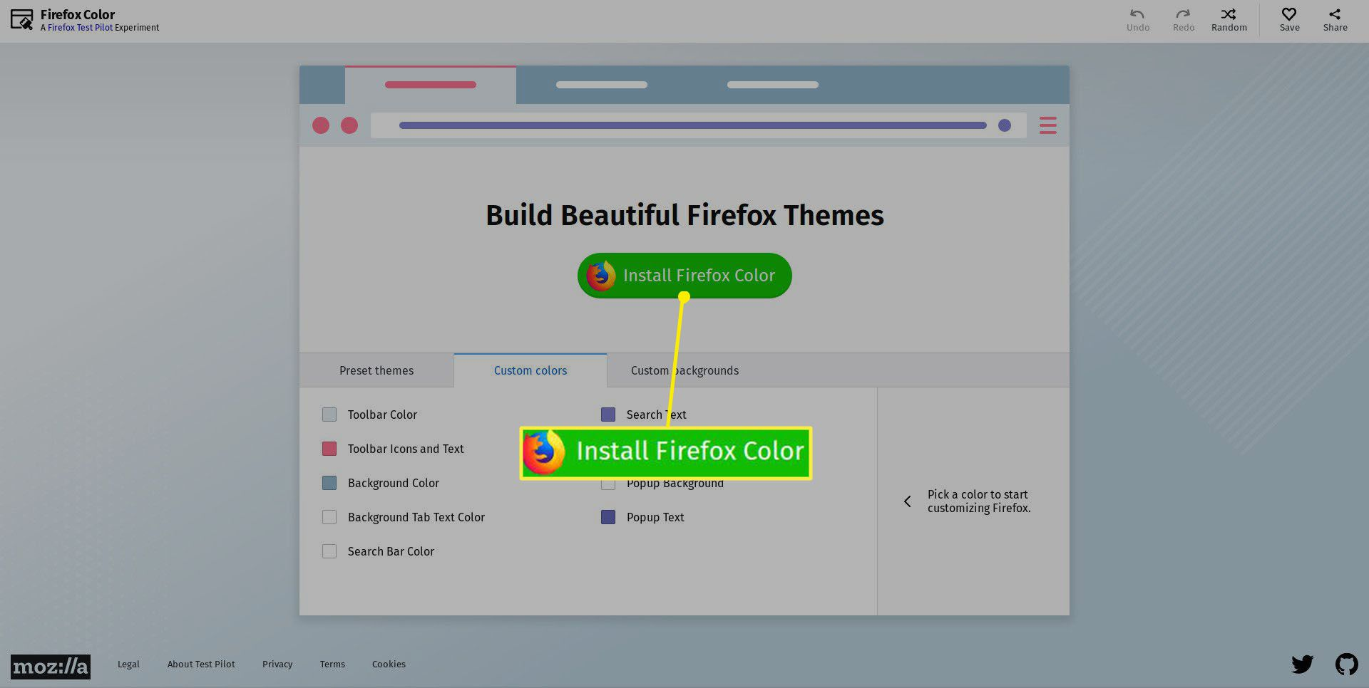 Install the Firefox Color add-on