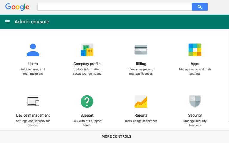 Screen capture of Google Apps for Work