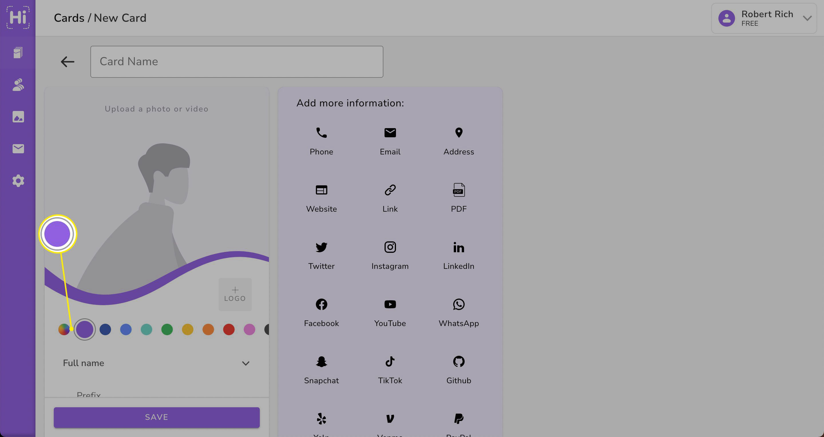 Purple accent highlighted on HiHello website