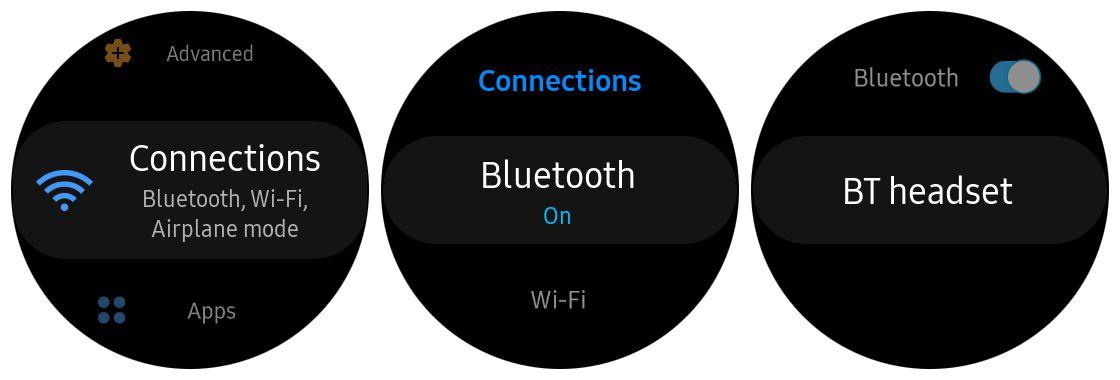 Screenshots of bluetooth settings on Samsung Gear S3