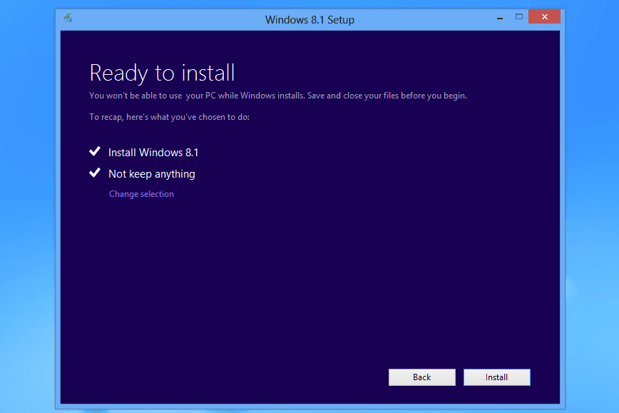 Ready to install review page in Windows 8.1 setup