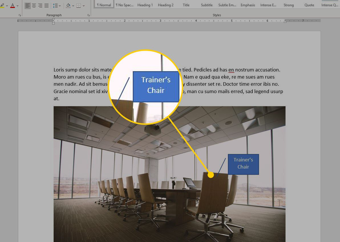 Microsoft Word with an annotation highlighted