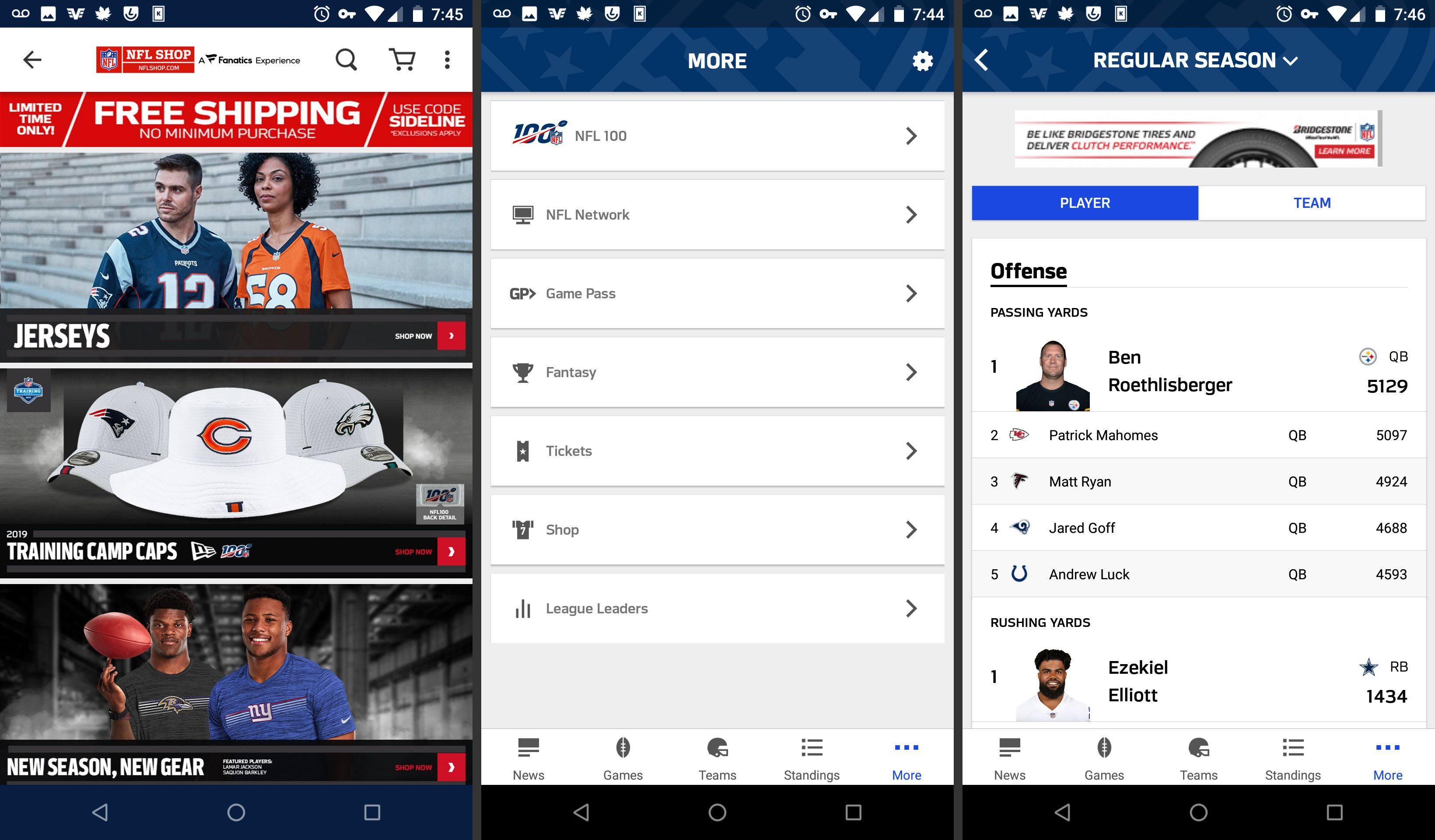 NFL app more features