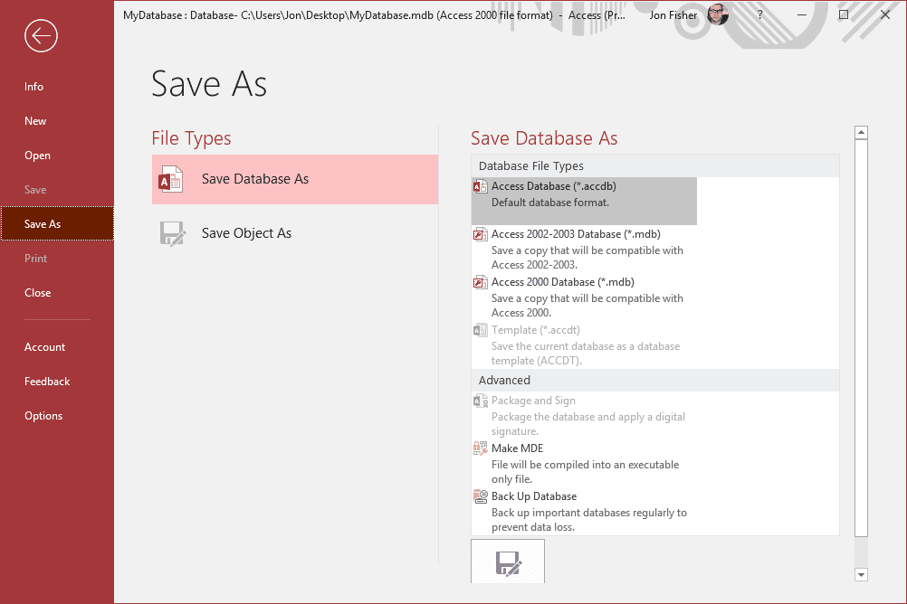 Microsoft Access save as screen