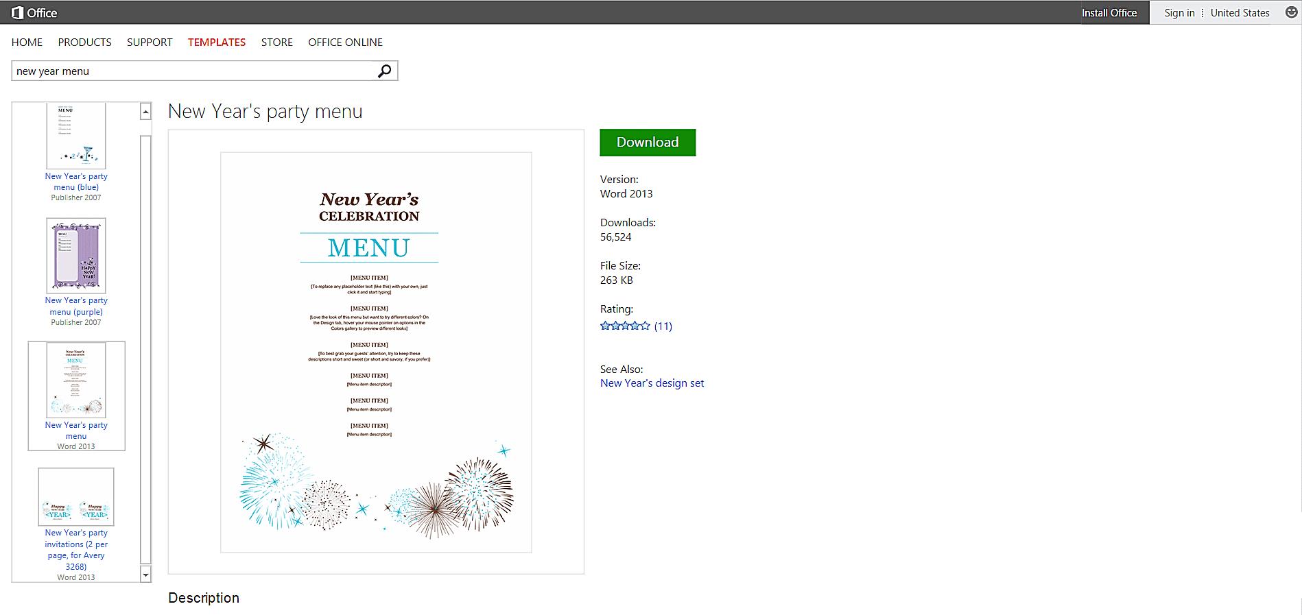 new year fireworks party menu template screenshot