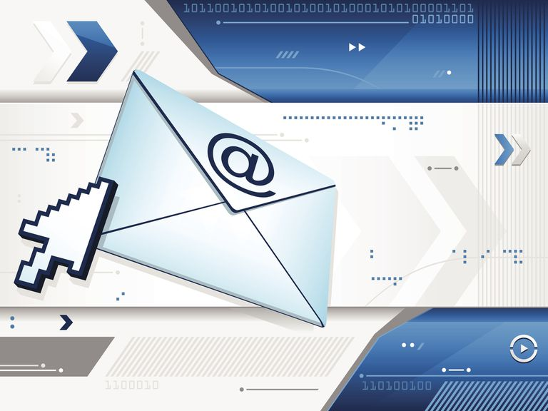 Envelope with @ symbol and larger cursor on a tech background