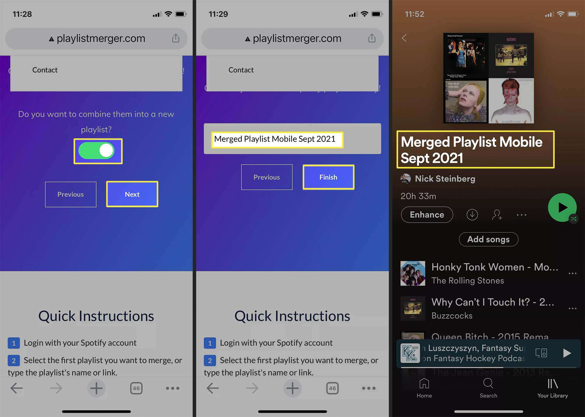 Confirming creation of merged playlist on Spotify for iOS.