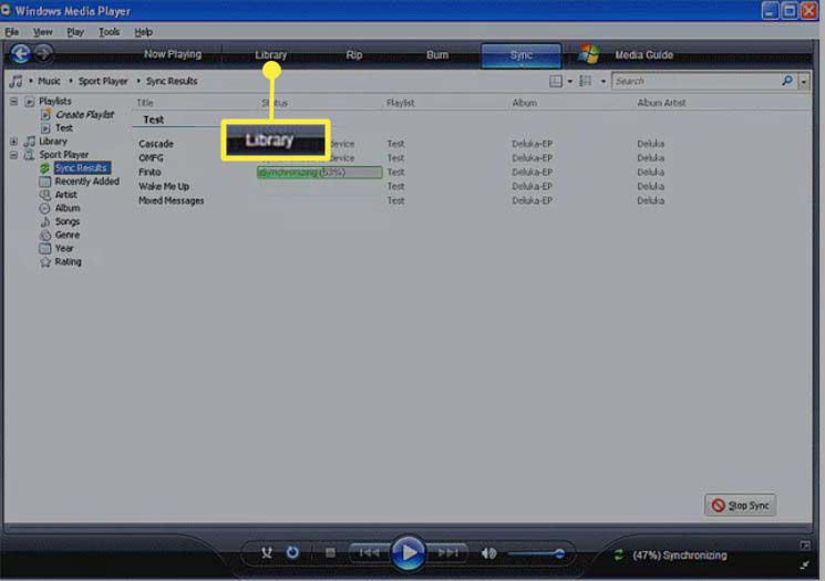 Selecting Library in Windows Media Player 11