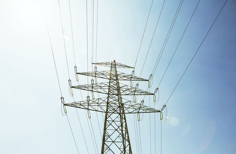 Electrical tower with blue sky