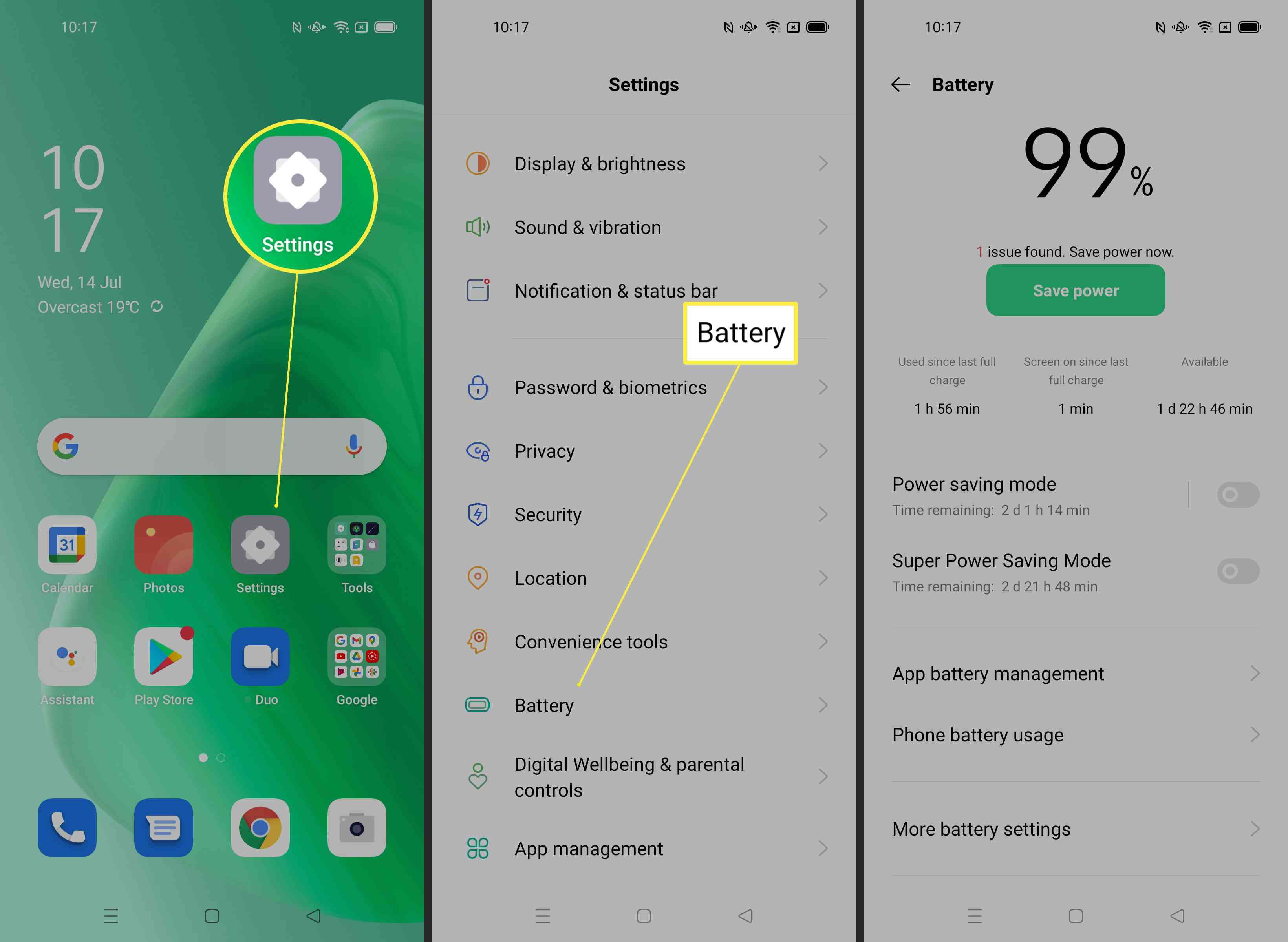 Steps required to look up battery healthy on Android