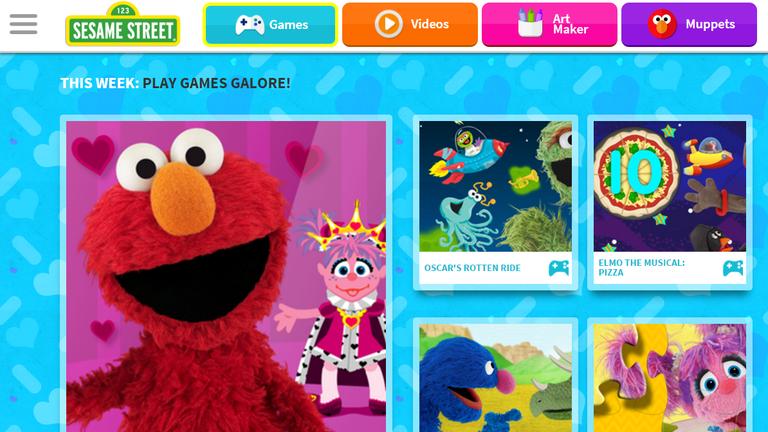 Screenshot of free preschool games at Sesame Street