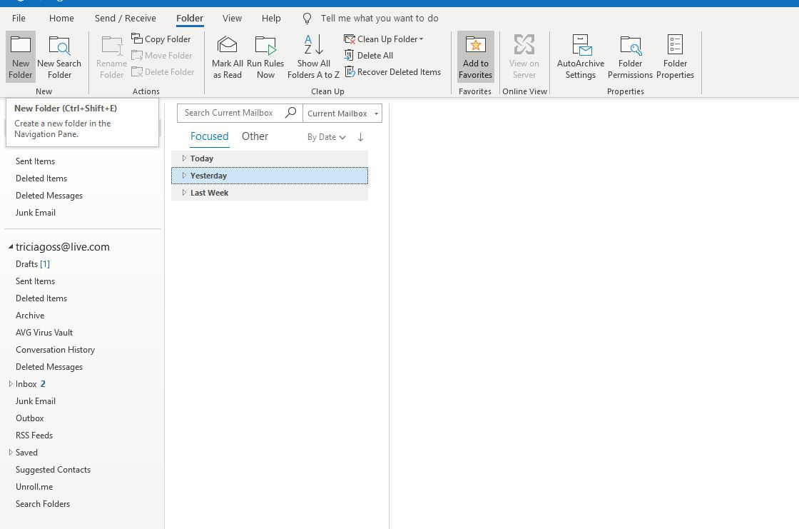 Screenshot of New Folder on Folder tab